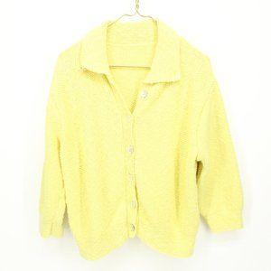 Vintage Yellow Knit Collared Crop Cardigan